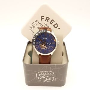 NWT FOSSIL Townsman Watch Brown Leather Navy Dial